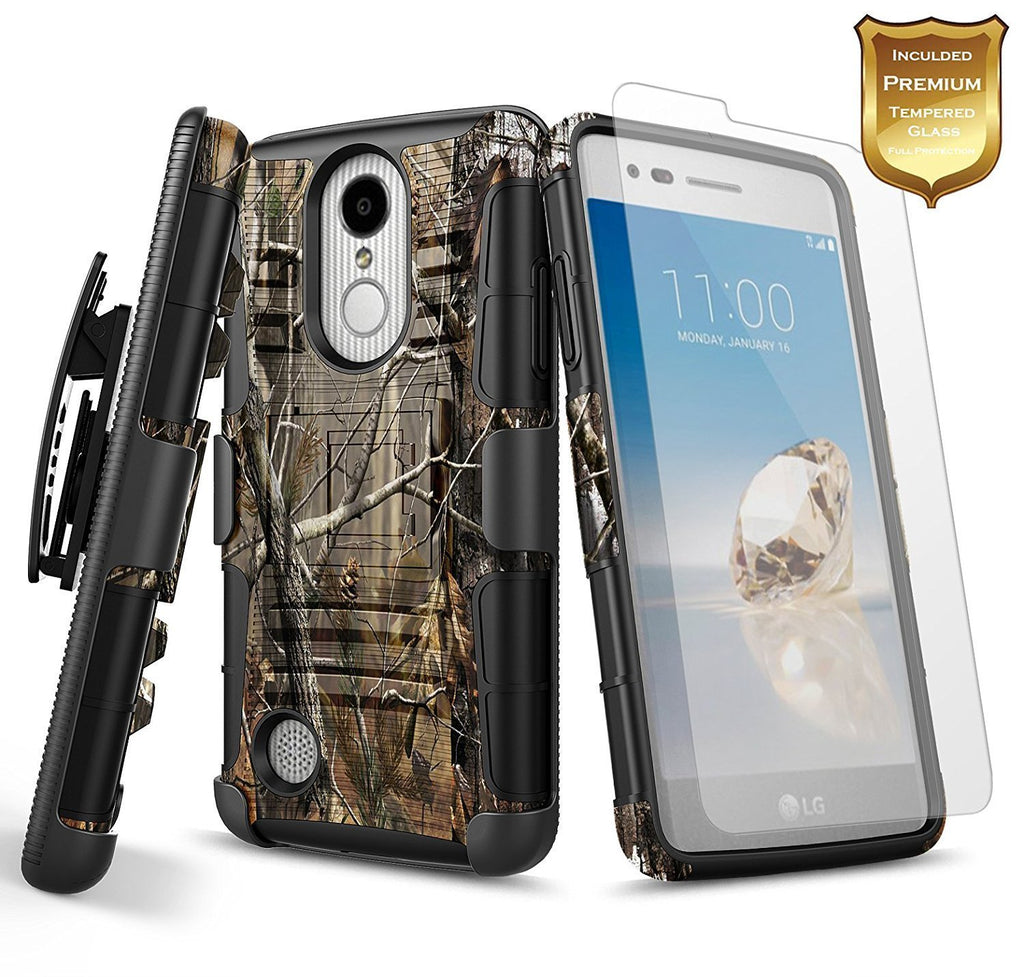 LG Aristo Case (MS210), LG K8 2017 Case (US215), LG LV3 Case with [Tempered Glass Screen Protector], NageBee [Heavy Duty] Armor Shock Proof [Belt Clip] Holster [Kickstand] Combo Rugged Case -Camo