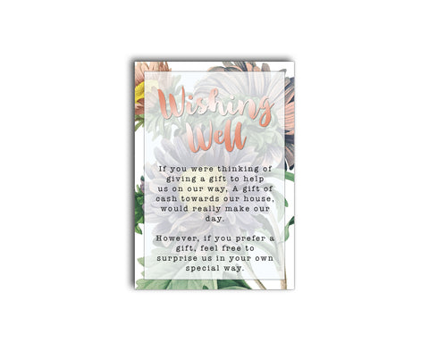 Desert blue and rose gold script gift registry / wishing well card with a floral backer