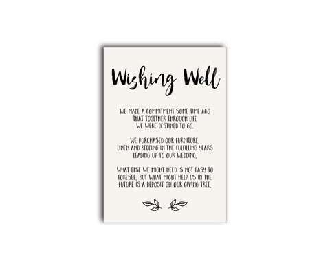 A rustic vintage forest / woods wedding gift registry | wishing well card
