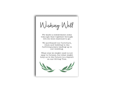 A simple botanic wedding gift registry / wishing well card with greenery branches