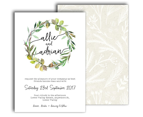 Simple botanic wedding invitation with a wreath of watercolour greenery branches