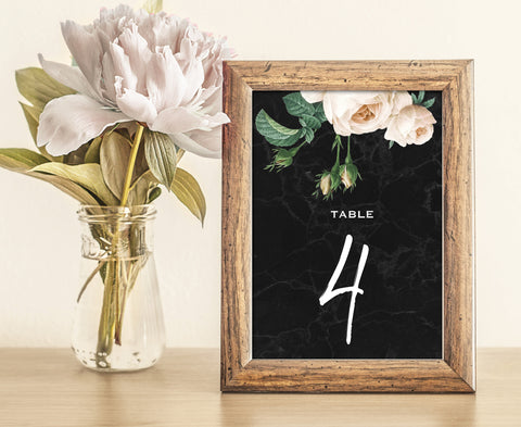 Black Marble and Gold Wedding Table Numbers with White Peony Rose