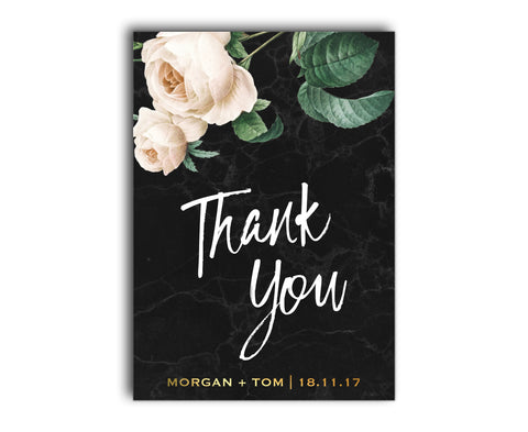 Black Marble and Gold Wedding Thank You Card with White Peony Rose