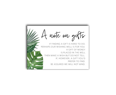 Tropical wedding registry | wishing well card | watercolour palms