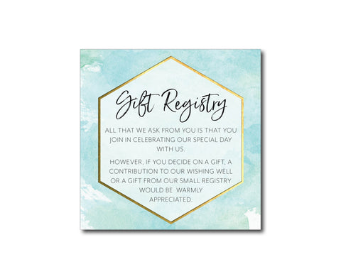 Blue Geometric wedding wishing well | Gift registry card | Gold