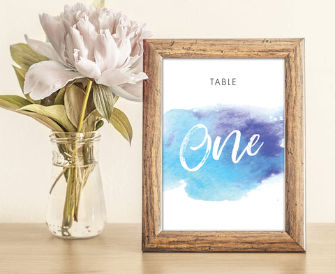 Watercolor / Watercolour Blue & Purple Wedding Table Numbers