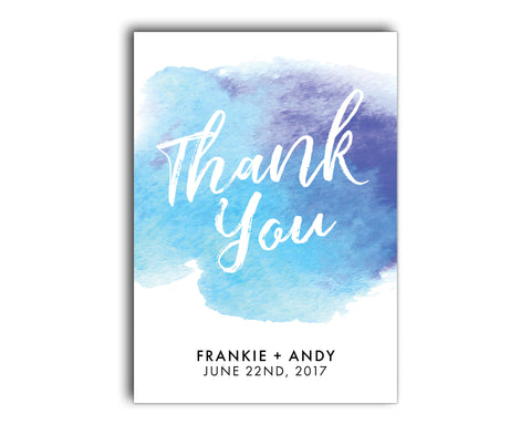 Watercolor / Watercolour Blue & Purple Wedding Thank You Card