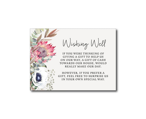 Floral wedding gift registry | wishing well card | watercolour | protea | anemone | greenery