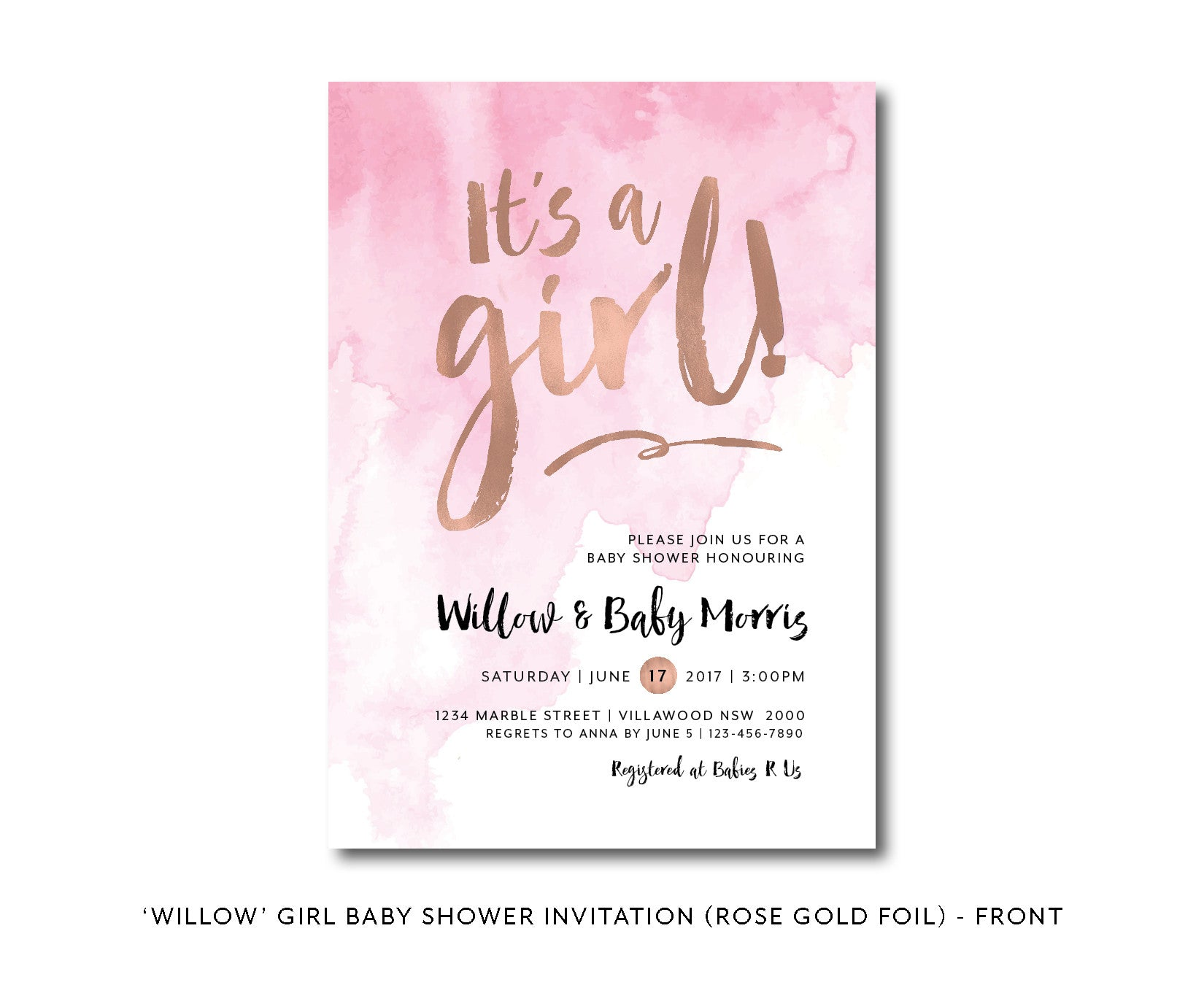 Pink Watercolour | Watercolor Girl Baby Shower Invitation | Rose Gold