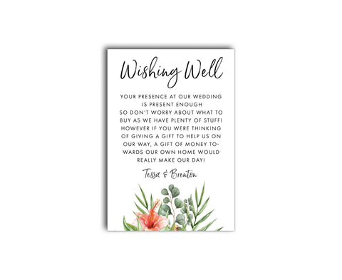 Gold & White Tropical Wedding Registry | Wishing Well Card | Palm | Hibiscus