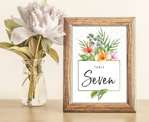 Gold & White Tropical Wedding Table Numbers | Palm | Hibiscus | Geometric