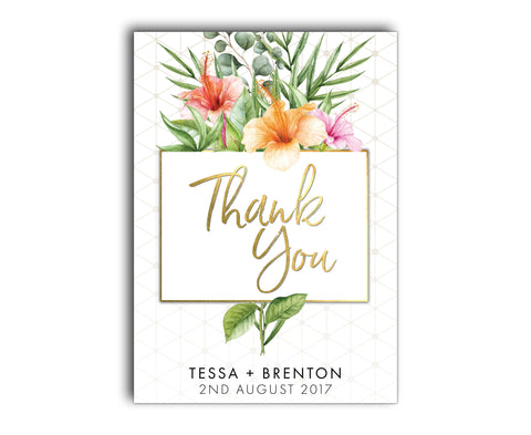 Gold & White Tropical Wedding Thank You Card | Palm | Hibiscus | Geometric
