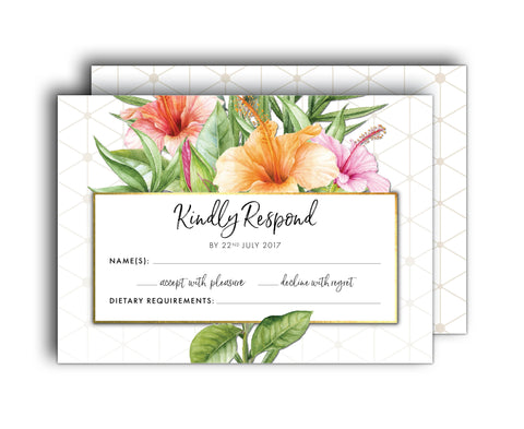 Gold & White Tropical Wedding RSVP | Palm | Hibiscus | Geometric