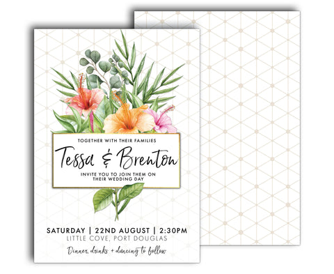 Gold & White Tropical Wedding Invitation | Palm | Hibiscus | Geometric