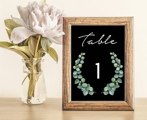 Black Greenery Botanic Wedding Table Numbers | Eucalyptus