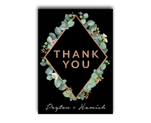 Black Geometric Greenery Botanic Wedding Thank You Card