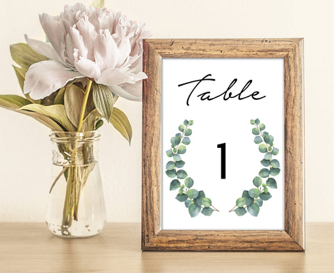Greenery Botanic Wedding Table Numbers | Eucalyptus