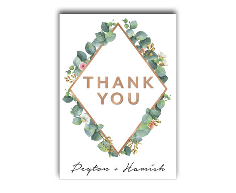 Geometric Greenery Botanic Wedding Thank You Card