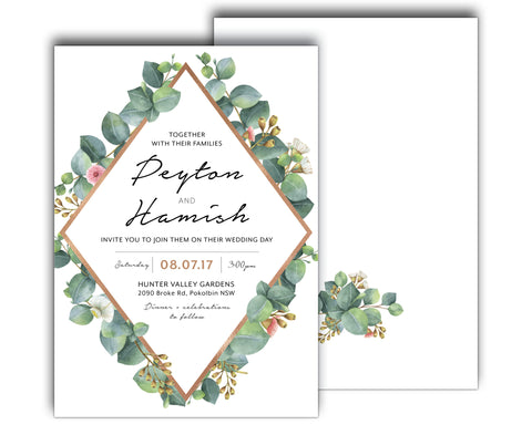 Greenery geometric wedding suite with rose gold