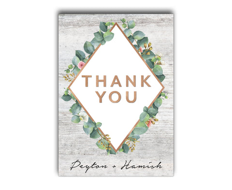 Geometric Greenery Botanic Wood Wedding Thank You Card