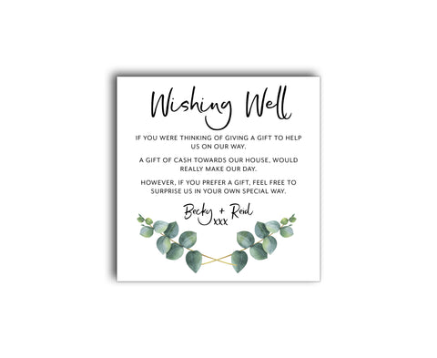 GREENERY BOTANIC REGISTRY OR WISHING WELL CARD WITH EUCALYPTUS LEAVES