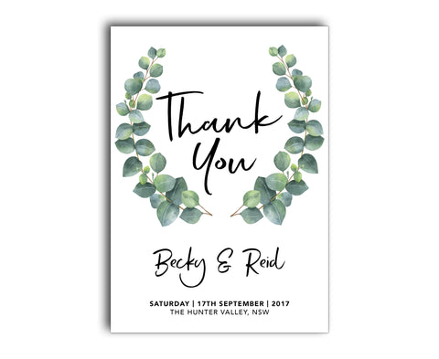GREENERY BOTANIC WEDDING THANK YOU CARD WITH EUCALYPTUS LEAVES