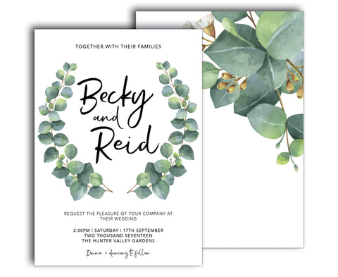 GREENERY BOTANIC WEDDING INVITATION WITH EUCALYPTUS LEAVES