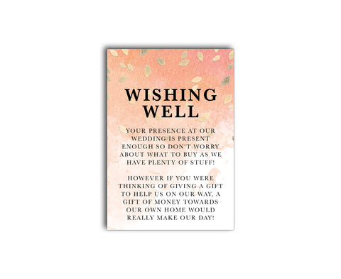 Modern wedding gift registry | wishing well card | Gold falling leaves on a peach watercolor