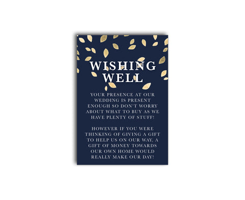 Modern wedding gift registry | wishing well card | Gold falling leaves on a navy blue background