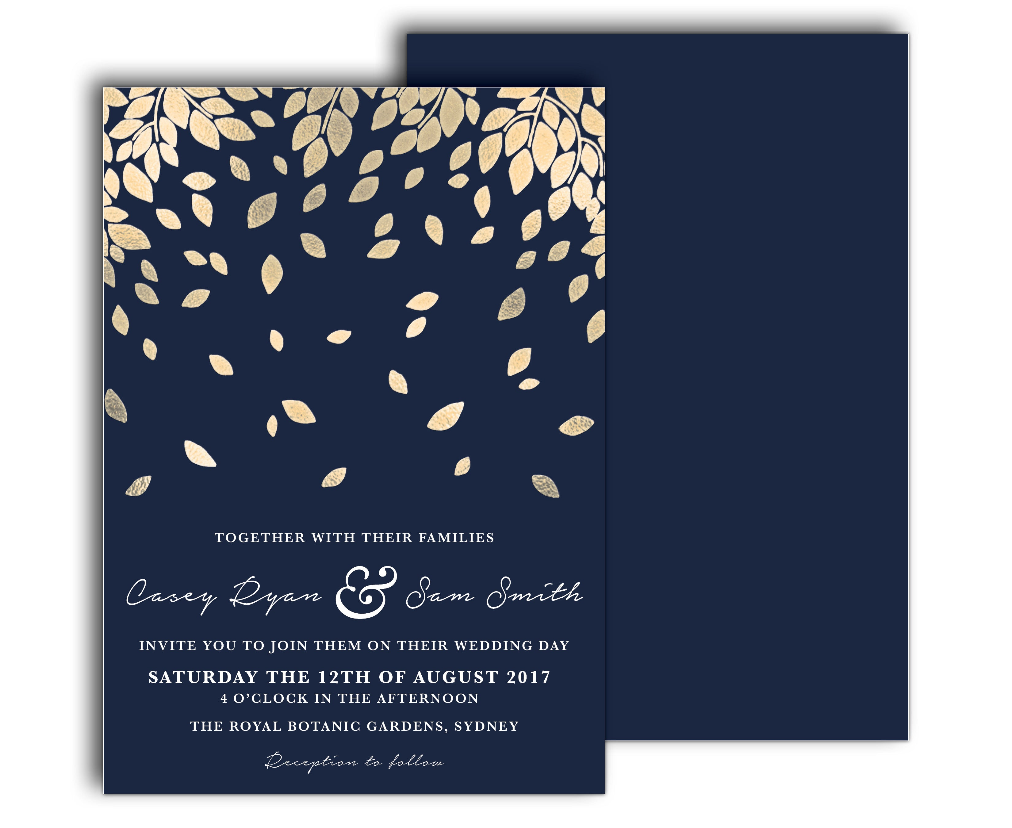 Modern wedding invitation | Gold falling leaves | navy blue background
