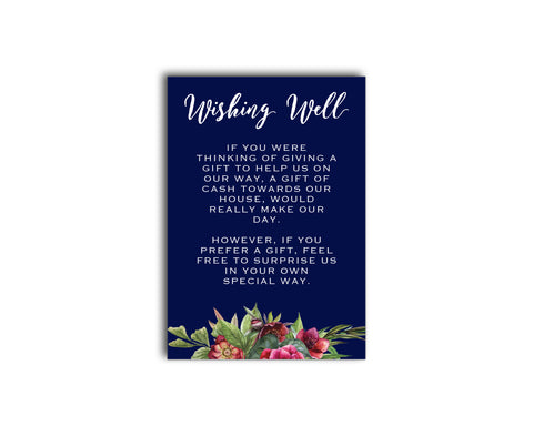 Navy blue, burgundy and gold floral gift registry card with peony flowers