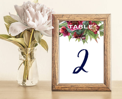 Navy blue and burgundy floral wedding table numbers with peony flowers
