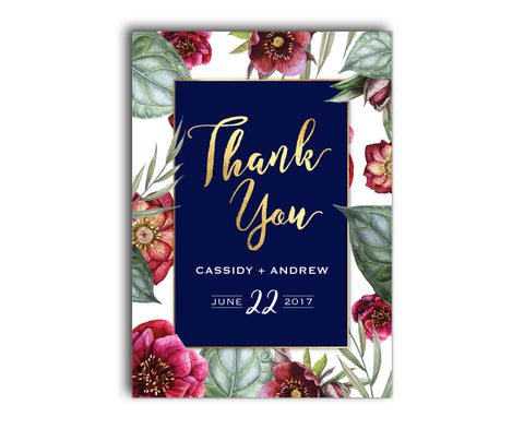 Navy blue, burgundy and gold floral wedding thank you card with peony flowers