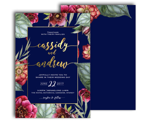 Navy blue, burgundy and gold floral wedding invitation with peony flowers