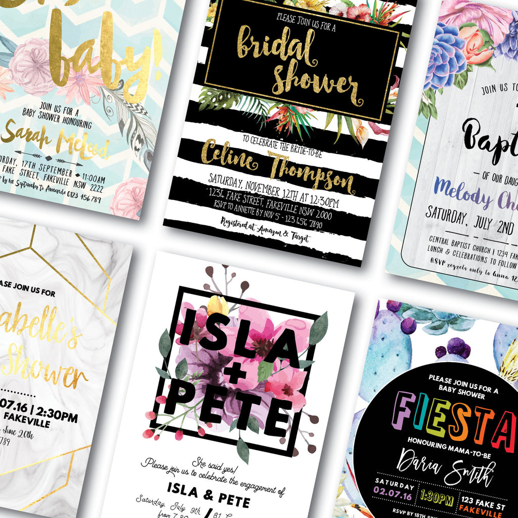 Tropical baby shower invitation - Frankie Bear Designs