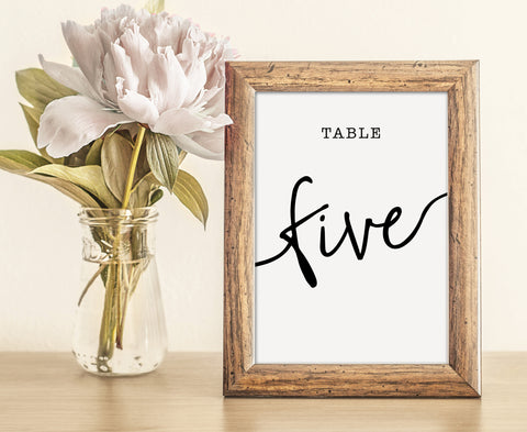 Simple, clean and elegant black and white script wedding table numbers