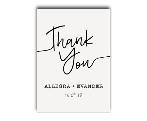 Simple, clean and elegant black and white script wedding thank you card
