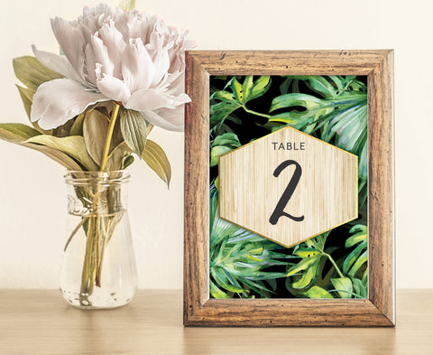 Tropical Palm Print Table Numbers | Wedding | Black | Gold