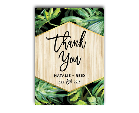 Tropical Wedding Thank You Card | Palm | Beach | Summer | Black