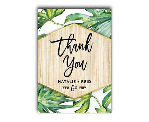 Tropical Wedding Thank You Card | Palm | Beach | Summer | White