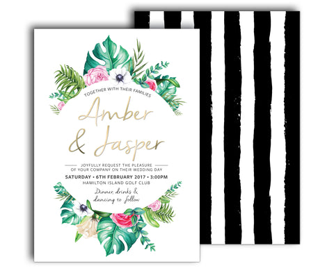 Tropical wedding invitation featuring palm leaves and tropical flowers