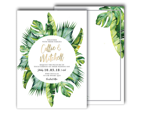 Tropical Wedding Invitation | Palm | Wreath | Beach | Summer | White | Gold