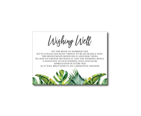 Tropical Palm Gift Registry | Wishing Well Card | Palm | Beach | Summer | White