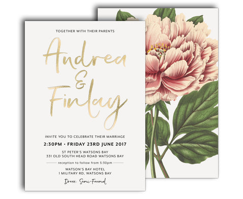 floral wedding invitation suite featuring a large pink | coral peony graphic
