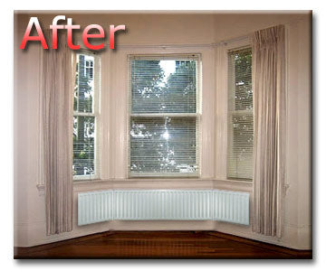 Bay window with Angled radiator fitted