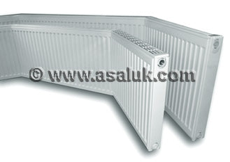 Single Angled Bay window radiators with grills