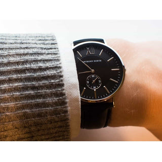 Watches - KAJO BLACK/BLACK LEATHER
