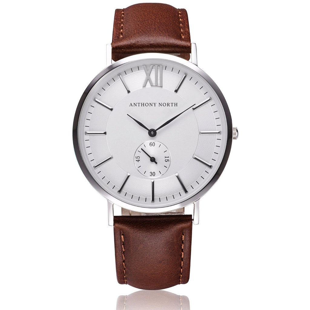 Anthony North Watches - KAJO WHITE/BROWN LEATHER