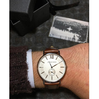 Watches - KAJO WHITE/BROWN LEATHER
