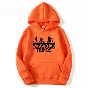 Trendy Faces Stranger Things Hooded Adult Hoodies and Sweatshirts Oversize